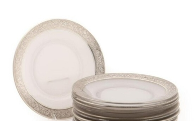 SET 12, AMERICAN SILVER ENCRUSTED GLASS PLATES