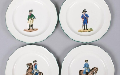 SET OF FOUR WEDGWOOD QUEENSWARE MILITARY PLATES