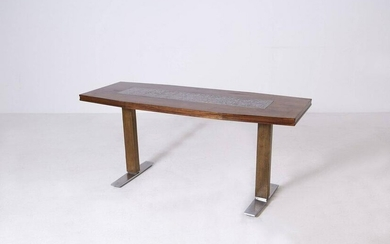 Scandinavian Coffee Table Design Wood and Silver Plate