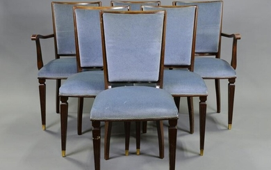 Set Of 6 Blue Upholstered Dining Chairs