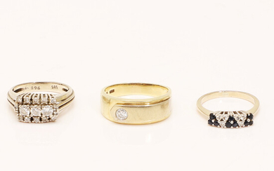 Set of rings, 585 yellow gold, 585 white gold, diamonds and brilliant-cut diamonds, sapphires (3).