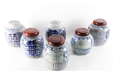 |Six Chinese blue and white rice jars, 19th century and late...