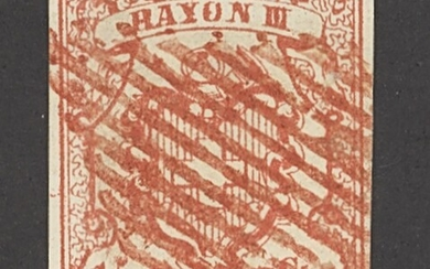 """Switzerland 1852 """"Rayon III"""" Small Figures 15c. rose, good to large margins all round and with..."""