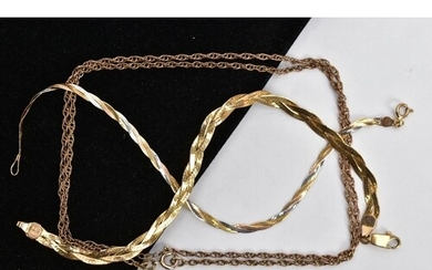 TWO 9CT GOLD PLAIT BRACELETS AND A CURB LINK CHAIN, the firs...
