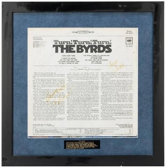 The Byrds Turn! Turn! Turn! Album Display. Signed by