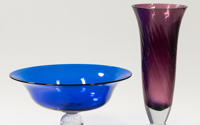 Two Colored Glass Table Items