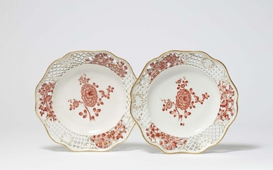 Two Meissen porcelain dessert plates from the dinner service with the iron red mosaic border