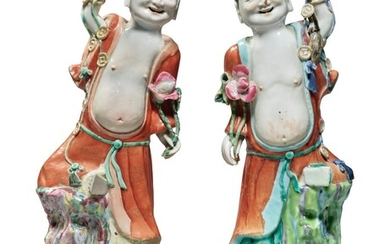 Two Rare Chinese Export Famille-rose Figures of Liuhai Qing Dynasty, Qianlong Period