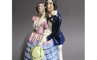 VICTORIAN STAFFORDSHIRE FIGURE GROUP 26cms H