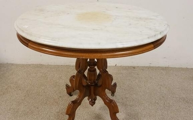 VICTORIAN WALNUT OVAL MARBLE TOP STAND