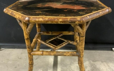 Victorian Bamboo Low Table w Lacquered Top