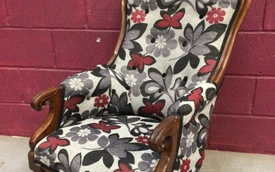 Victorian mahogany spoon back armchair and a late Victorian walnut open armchair