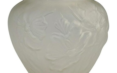 Vintage Relief Frosted Glass Vase