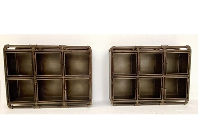 WALL CABINETS, a pair, 53cm x 71cm x 18cm, industrial style ...