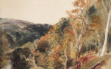 Wooded hills descending to a valley near Lowther, Westmoreland, Peter De Wint, O.W.S.