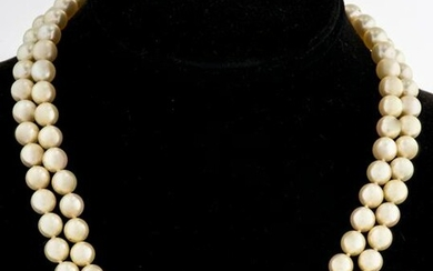 14K Gold Diamond Clasp Double Stand Pearl Necklace