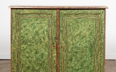 18TH C. ITALIAN FAUX MARBLE PAINTED CABINET