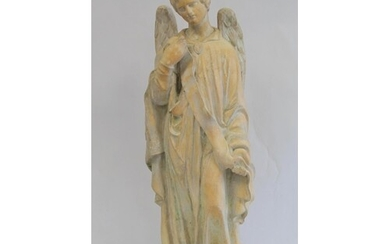 19th century pottery figure of an angel standing on square p...