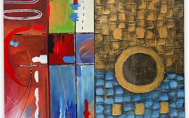 (2 pc) Abstract Mixed Media On Canvas Painting