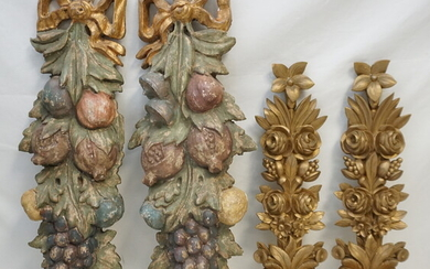 4PC ANTIQUE CARVED GILT & PAINTED WALL APPLIQUES