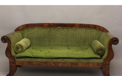 A 19TH CENTURY FRENCH EMPIRE STYLE SETTEE. With a broad Maho...