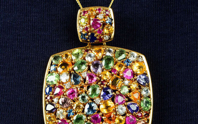 A 9ct gold multi gem pendant, to include vari-hue sapphire, diamond, spinel and further gems.