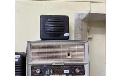 A Bush bakelite radio, five others, and a speaker (7)