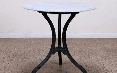 A CAST IRON AND MARBLE TOP BISTRO TABLE