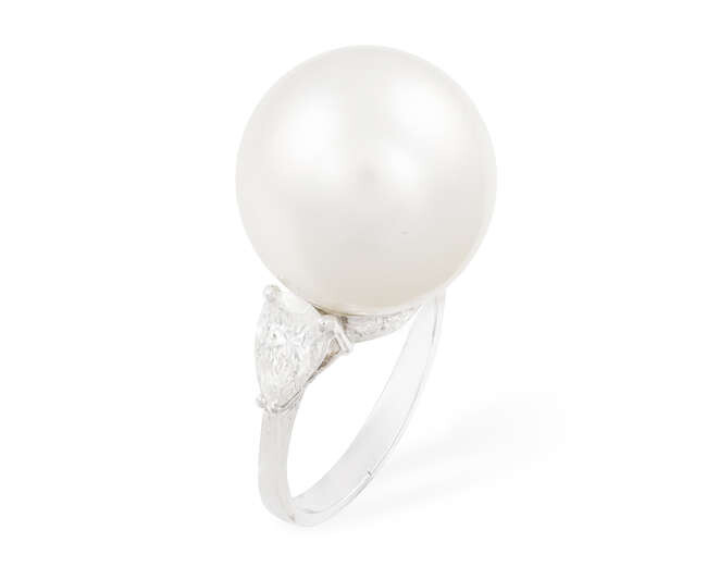 A CULTURED PEARL AND DIAMOND DRESS RING The...