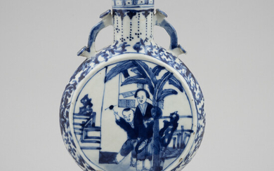 A Chinese blue and white moon flask, Qing dynasty, 19th century.