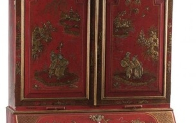 A Continental Red Lacquer Bookcase Cabinet in Tw