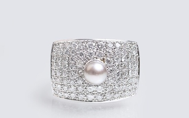 A Diamond Ring with Pearl.
