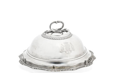 A George III / IV matched silver cover and base