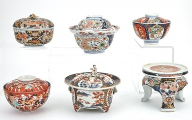 A Group of Five Japanese Imari Porcelain Covered Bowls