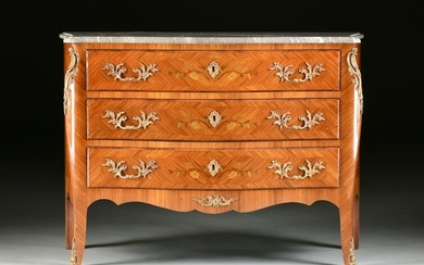 A LOUIS XV STYLE MARBLE TOPPED AND ORMOLU MOUNTED