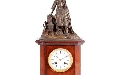 A MID 19TH CENTURY FRENCH BRONZE FIGURAL MANTEL CLOCK the ma...
