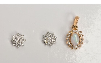 A PAIR OF 9CT WHITE GOLD DIAMOND EARRINGS AND A YELLOW METAL...