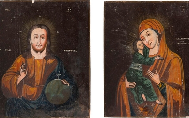 A PAIR OF WEDDING ICONS SHOWING CHRIST PANTOKRATOR AND THE