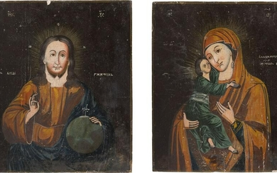 A PAIR OF WEDDING ICONS SHOWING CHRIST PANTOKRATOR AND