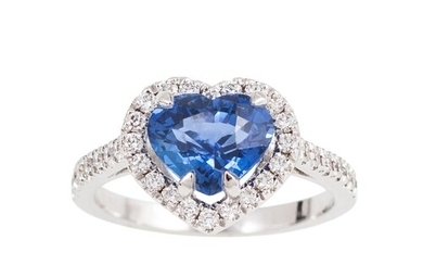 A SAPPHIRE AND DIAMOND CLUSTER RING, the heart shaped sapphi...