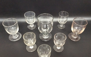 A large early 19th century glass rummer and eight various sm...