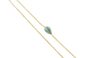 A late 19th century gold chain, with turquoise spacers.