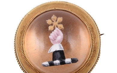 A late Victorian reverse painted intaglio brooch
