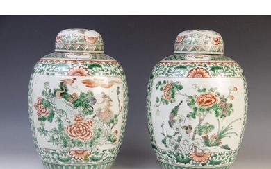 A pair of Chinese famille verte ginger jars and covers, 20th...