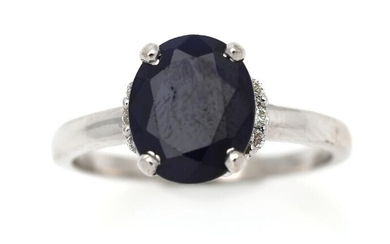 NOT SOLD. A sapphire and diamond ring set with a sapphire weighing app. 0.76 ct. flanked by six diamonds, mounted in 14k white gold. Size 54. – Bruun Rasmussen Auctioneers of Fine Art
