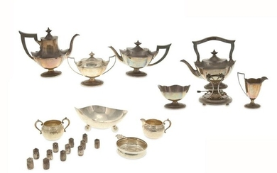 A sterling silver tea and coffee service and other