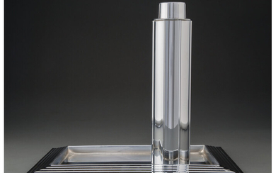 American Artist (20th Century), A Norman Bel Geddes for Revere Manhattan Chromed Cocktail Shaker with Tray (introduced 1935)
