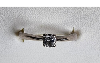 An 18ct white gold single stone diamond ring, approximately ...