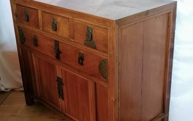 Antique Asian wooden side cabinet made up of base cupboards ...
