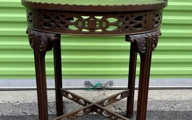 Chinese Chippendale Style Carved Round Side Table